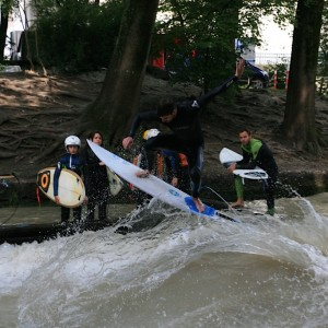 Enjoying the Eisbach Wave