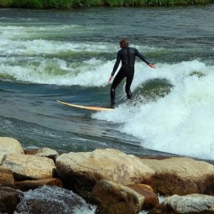 David Surfing Kellys Wave in Idaho
