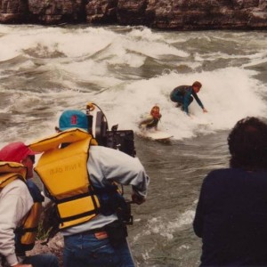 Toyota River Surfing Commercial, 1992. Tony and Mike earning their pay.