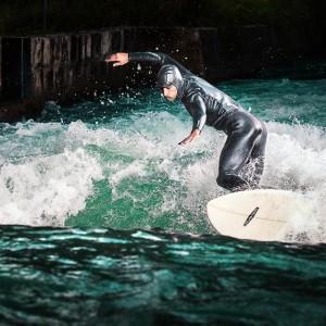 Chris Mimler surfing the Almkanal wave